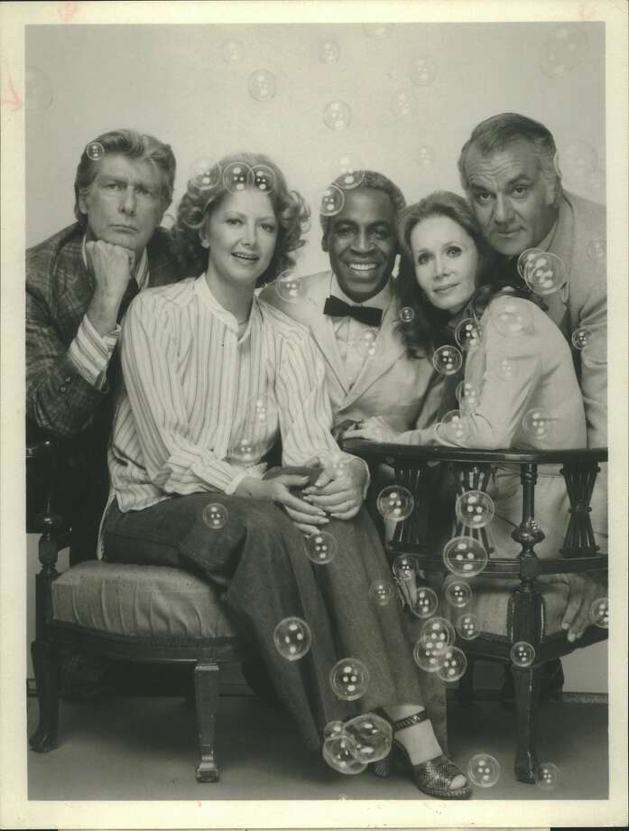 "Robert Mandan (right) with his ""Soap' co-stars (from left) Richard Mulligan, Cathryn Damon, Robert Guillaume and Katherine Helmond. Photo: ABC"