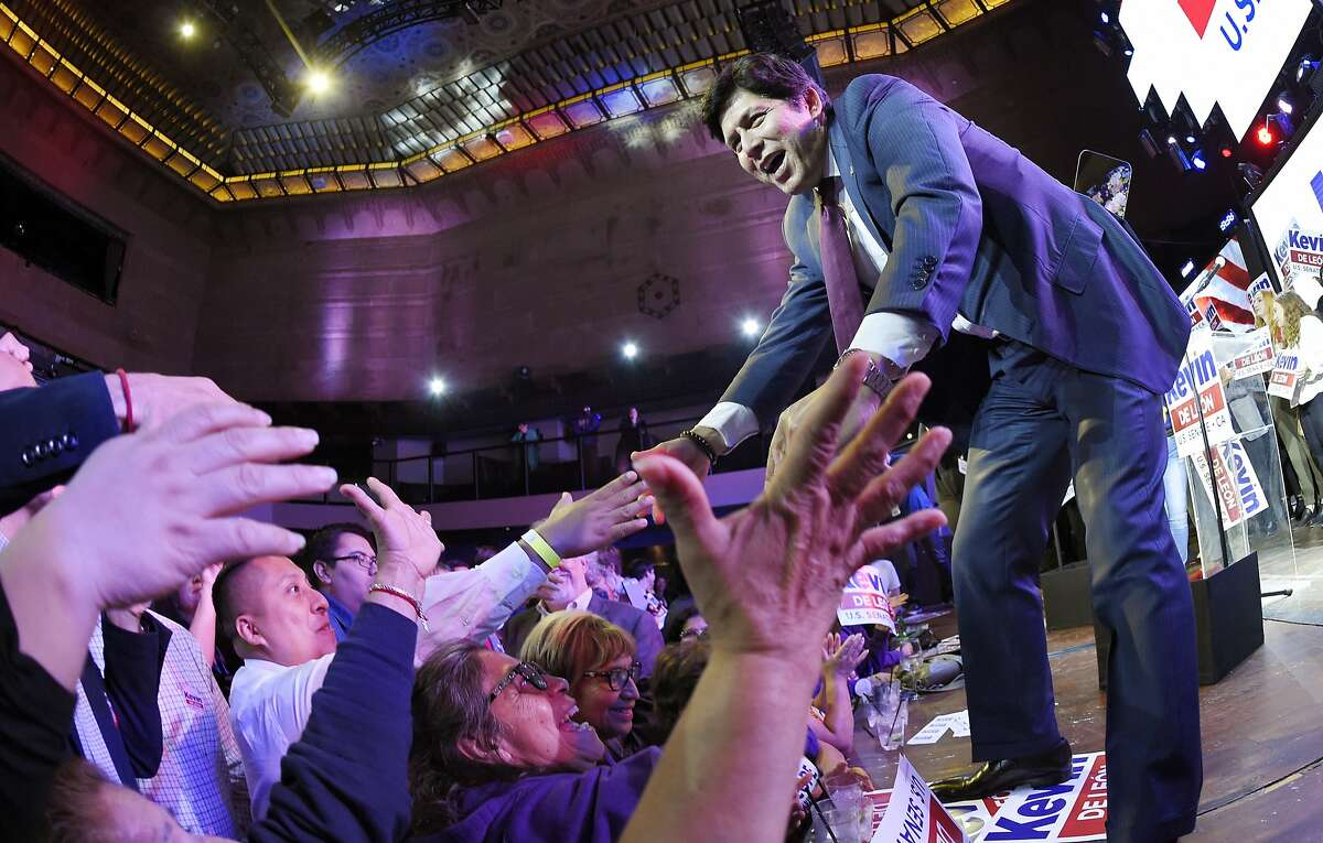 Kevin de Leon, state Senate president pro tem and Democratic candidate for the U.S. Senate, greets supporters after speaking during an election party Tuesday, June 5, 2018, in Los Angeles. (AP Photo/Mark J. Terrill)