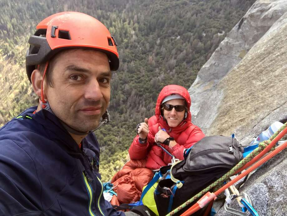 Hans Florine (right) and climbing partner Abraham Shreve on Yosemite?s El Capitan on Thursday, May 3, 2018 after Florine fell and broke bones in his left ankle and right heel. Florine had to be rescued. Photo courtesy Abraham Shreve Photo: Courtesy Abraham Shreve