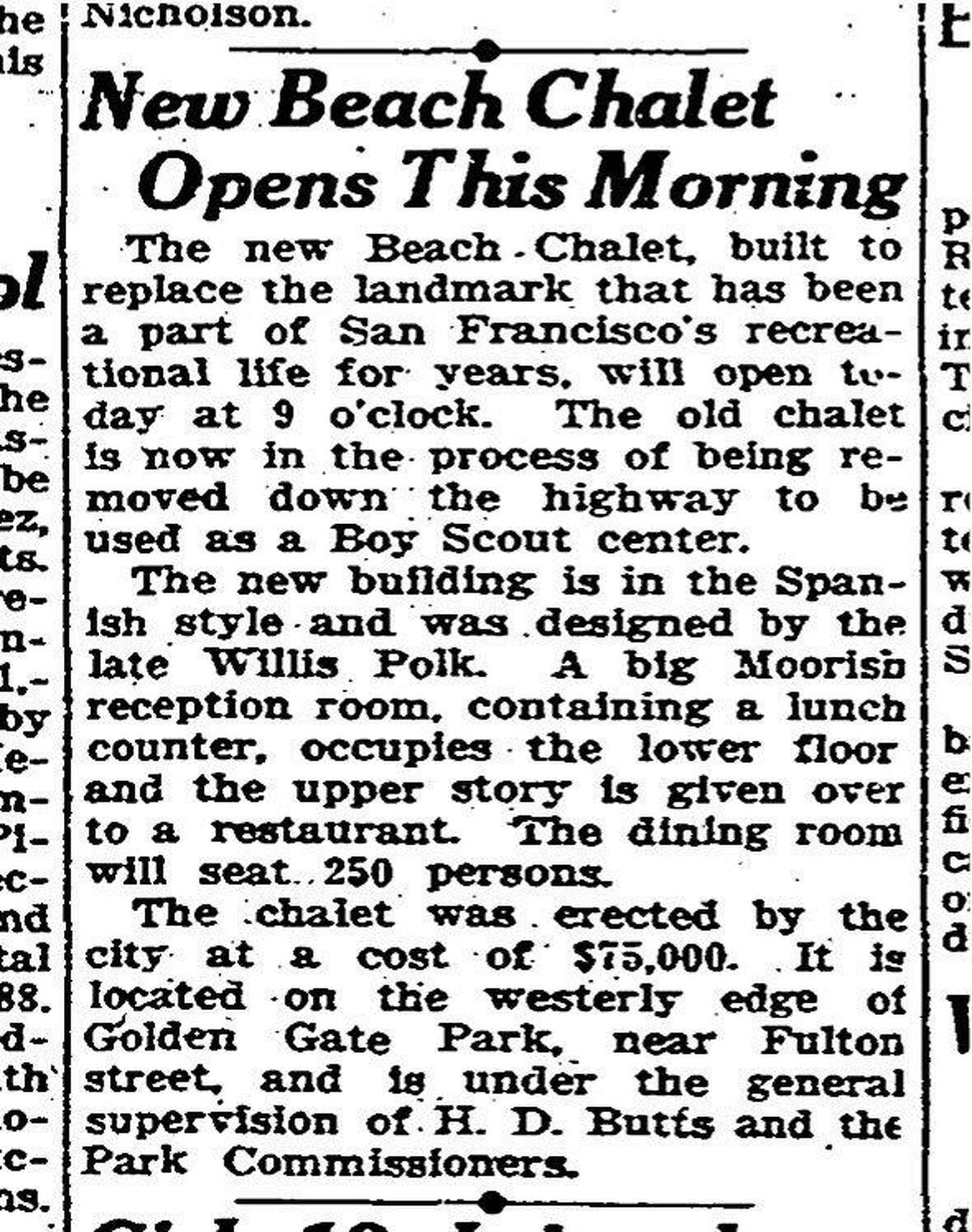 The May 30, 1925 Chronicle reports on the opening of the Beach Chalet, a Spanish-style building designed by Willis Polk.
