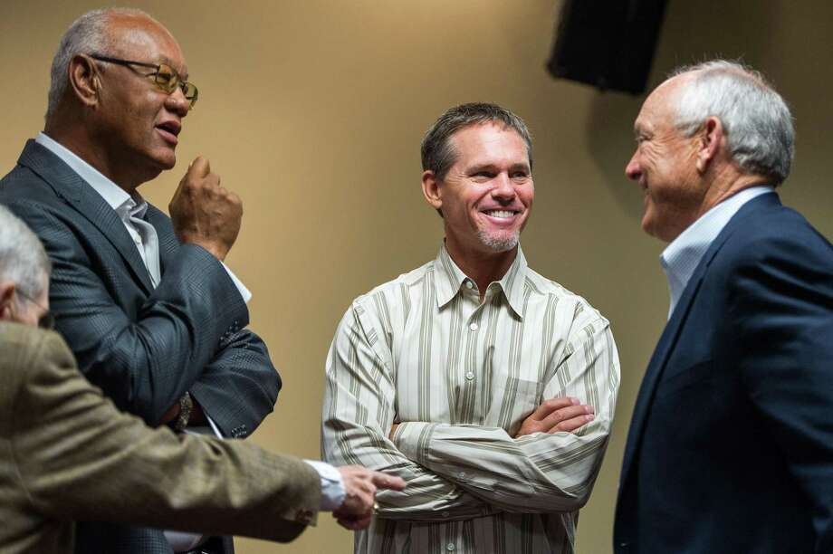 Former Houston Astros players Enos Cabell, left, Craig Biggio, and Nolan Ryan talk before a press conference where Ryan's son Reid Ryan was introduced as the new Houston Astros president at Minute Maid Park on Friday, May 17, 2013, in Houston.   ( Smiley N. Pool / Houston Chronicle ) Photo: Smiley N. Pool, Staff / Houston Chronicle / © 2013  Smiley N. Pool