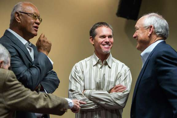 Former Houston Astros players Enos Cabell, left, Craig Biggio, and Nolan Ryan talk before a press conference where Ryan's son Reid Ryan was introduced as the new Houston Astros president at Minute Maid Park on Friday, May 17, 2013, in Houston.   ( Smiley N. Pool / Houston Chronicle )
