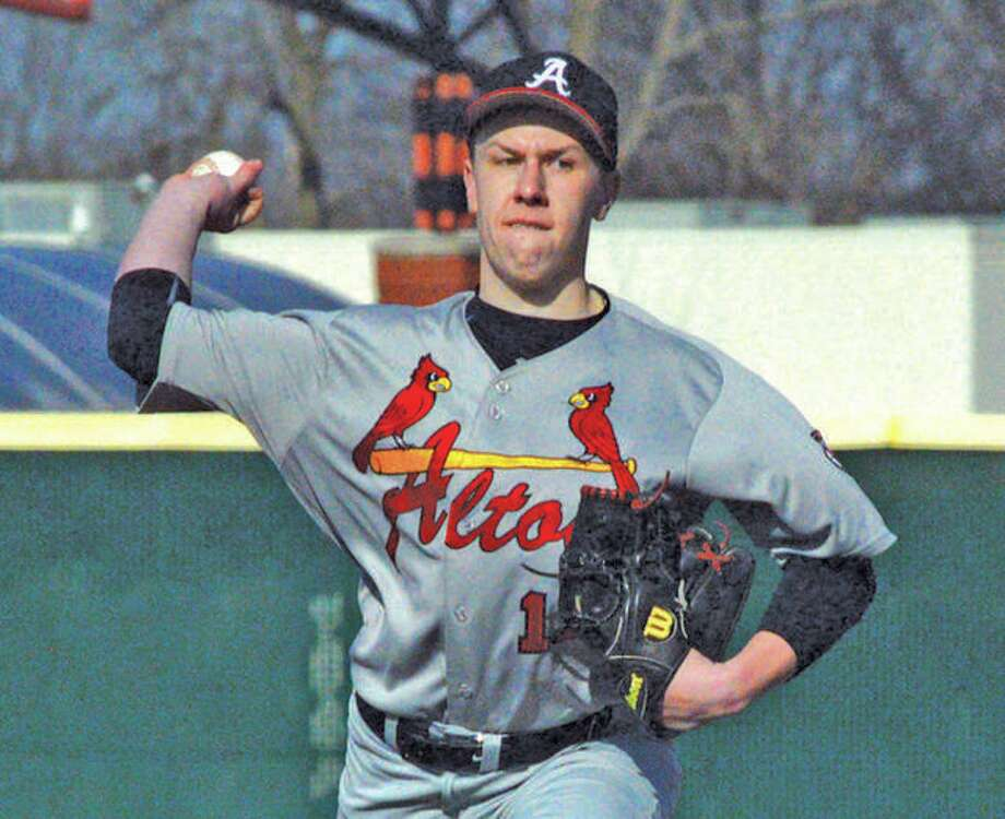 Alton's Wesley Laaker, fired a complete-game two hitter for Alton Post 1999 Friday against Thoman Booth (Mo.) Post 338. Laaker is shown pitching for Alton High School during the spring high school season. Photo:       Telegraph File Photo
