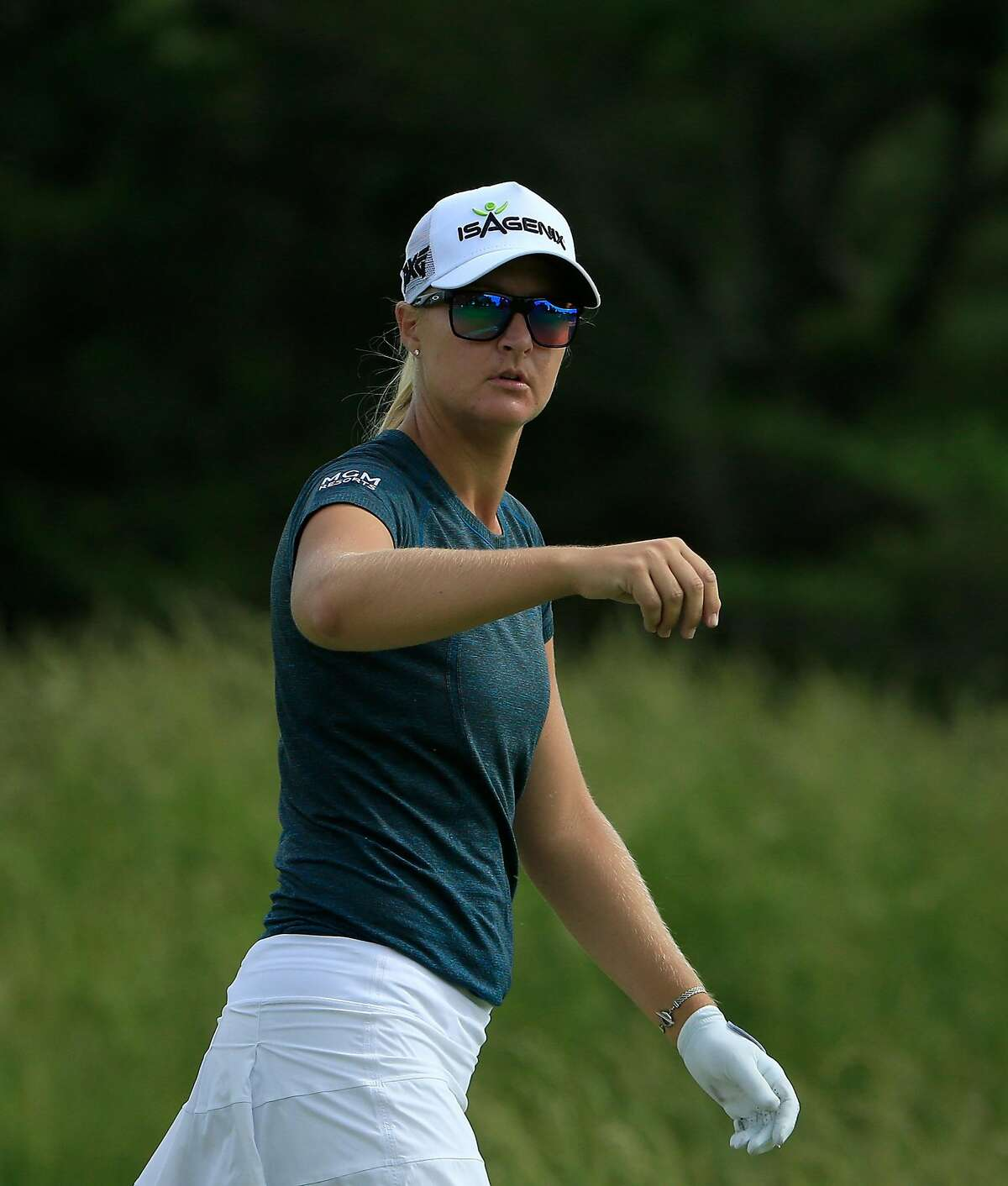 GALLOWAY, NJ - JUNE 08: Anna Nordqvist of Sweden looks on during the first round of the ShopRite LPGA Classic Presented by Acer on the Bay Course at Stockton Seaview Hotel and Golf Club on June 8, 2018 in Galloway, New Jersey. (Photo by Michael Cohen/Getty Images)