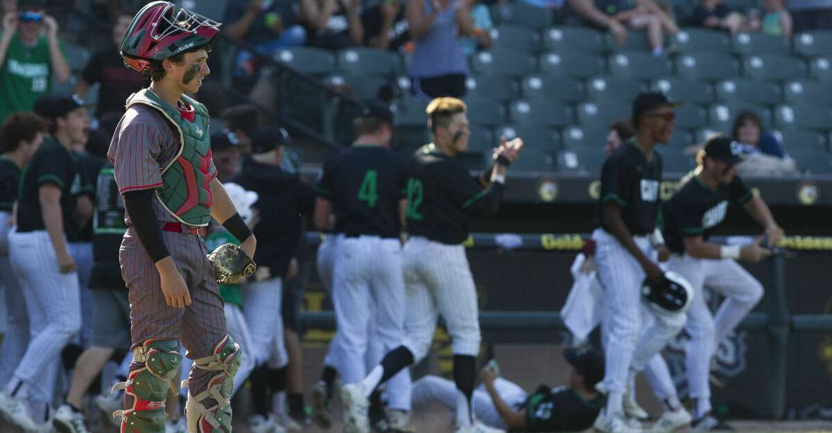 in the sixth inning of a Class 6A state semifinal game during the UIL State Baseball Championships at Dell Diamond on Friday, June 8, 2018, in Round Rock.