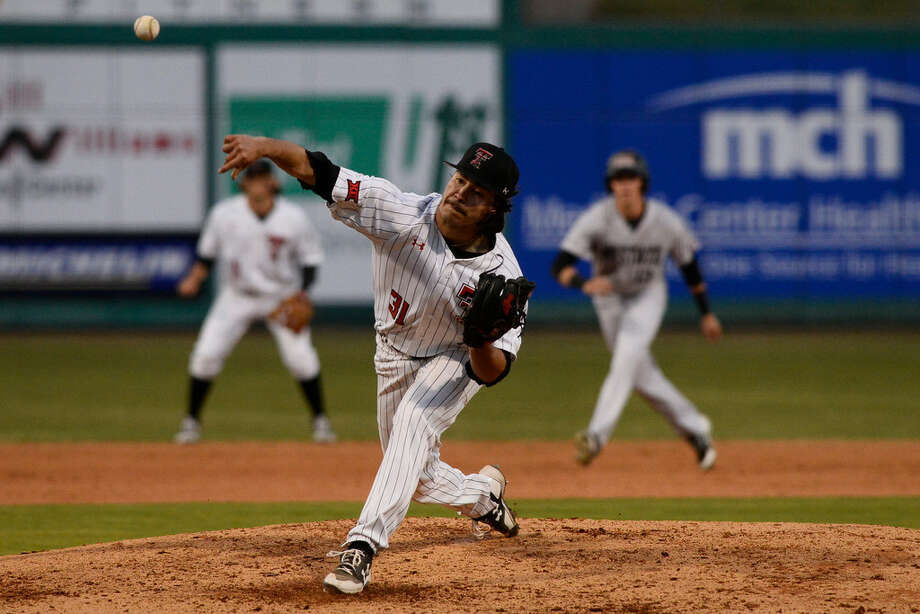 Texas Tech's Caleb Freeman pitches against New Mexico State April 3, 2018, at Security Bank Ballpark.  James Durbin/Reporter-Telegram