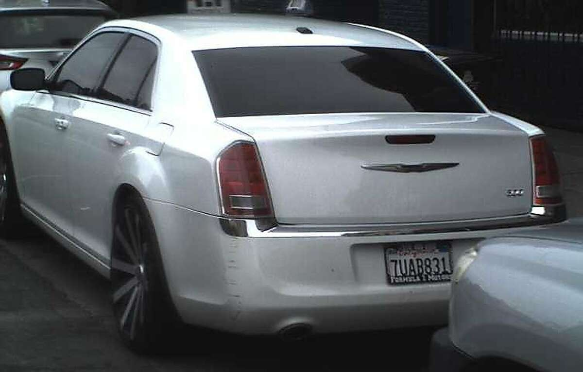 Caption2: San Francisco police released this photo of a white Chrysler associated with Robert Riley, a suspect in the killing of his wife, Vanessa Palma, on June 7, 2018, in San Francisco.