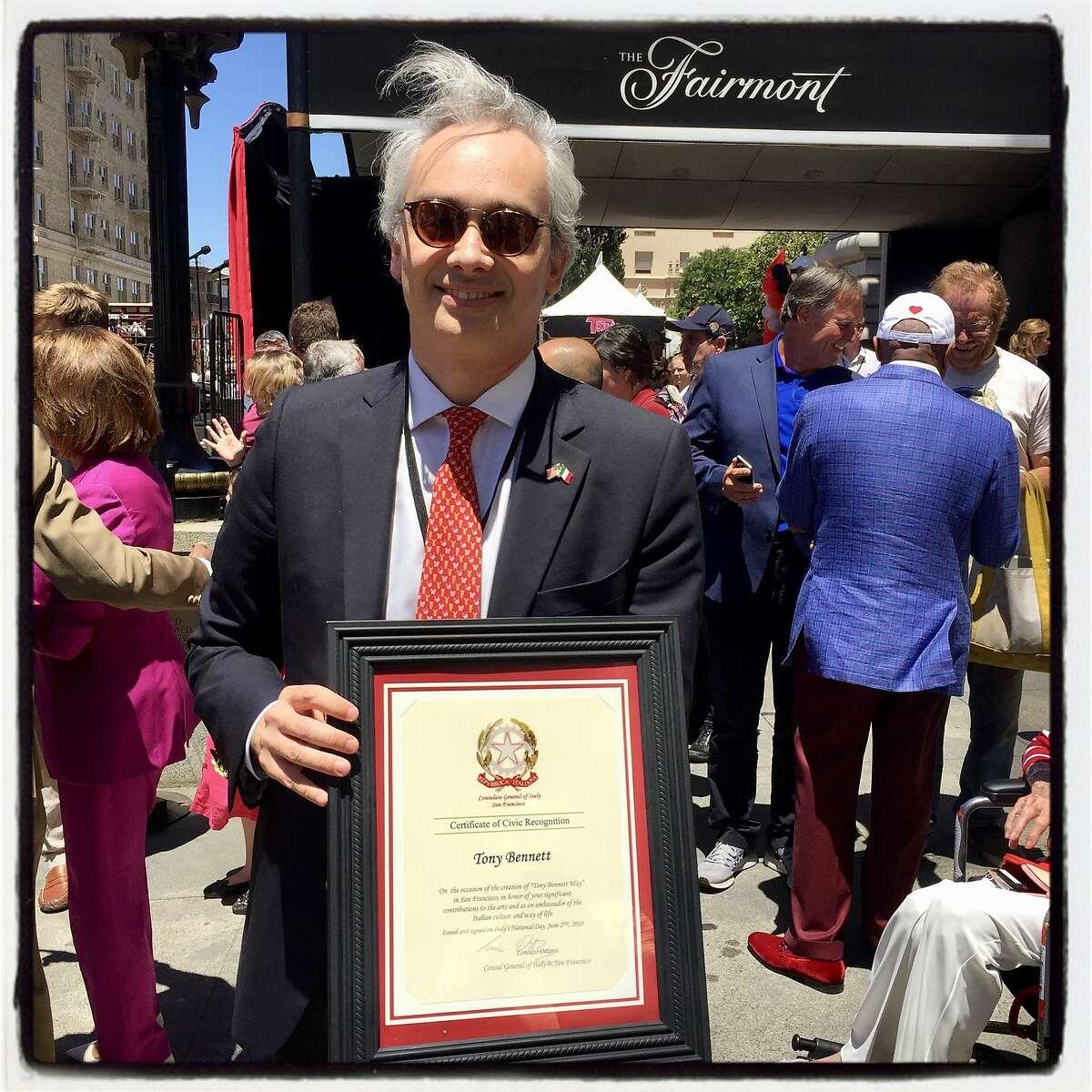 Italian Consul General Lorenzo Ortona presented a proclamation from Italy honoring Tony Bennett at the Fairmont Hotel. June 2, 2018.