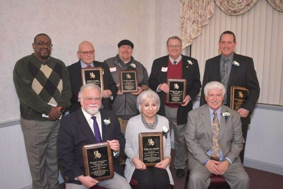 The sixth annual Rensselaer High School Alumni Hall of Fame inducted 10 members at the Troy Elks Club. Seated from left: David Stewart '63; Sally Shields, district superintendent, and David Foust '71. Standing from left: David Bellamy for his sister Rev. Dr. Carolyn Bellamy Lester '66 (posthumous); Philip Erlich administration; Kristopher Remington '94; Benjamin Thorp '56 and Christopher Leahey '83. Norma Hardenburgh, faculty, and Irwin Stewart '35, (posthumous.) were also inducted. (Submitted by Lynne Beiermeister ?69, Alumni Association president)