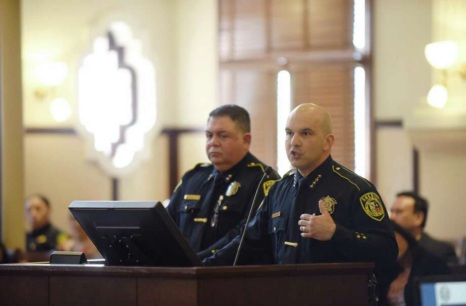 Bexar County Sheriff Javier Salazar speaks about body cameras for his deputies to wear on patrol during a county commissioners meeting on Tuesday, March 13, 2018. Photo: Billy Calzada, Staff / San Antonio Express-News / San Antonio Express-News