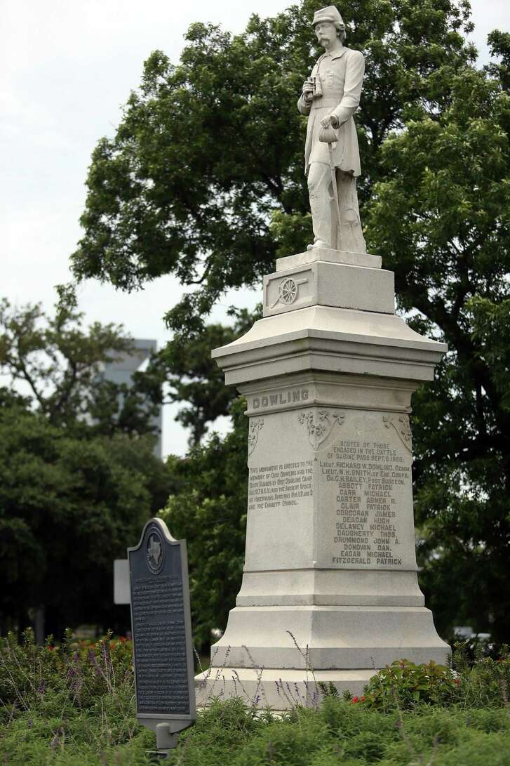 Dick Dowling, a bar owner who led a group of volunteers to victory at the Second Battle of Sabine Pass during the Civil War, is memorialized by a statue in Hermman Park.