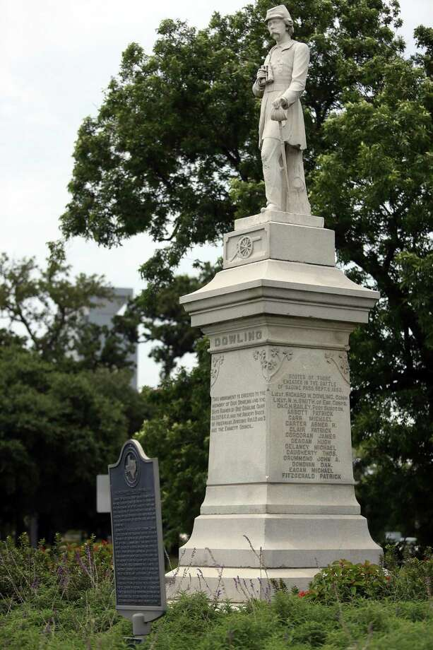Dick Dowling, a bar owner who led a group of volunteers to victory at the Second Battle of Sabine Pass during the Civil War, is memorialized by a statue in Hermman Park. Photo: Mayra Beltran, Staff / Houston Chronicle / © 2015 Houston Chronicle
