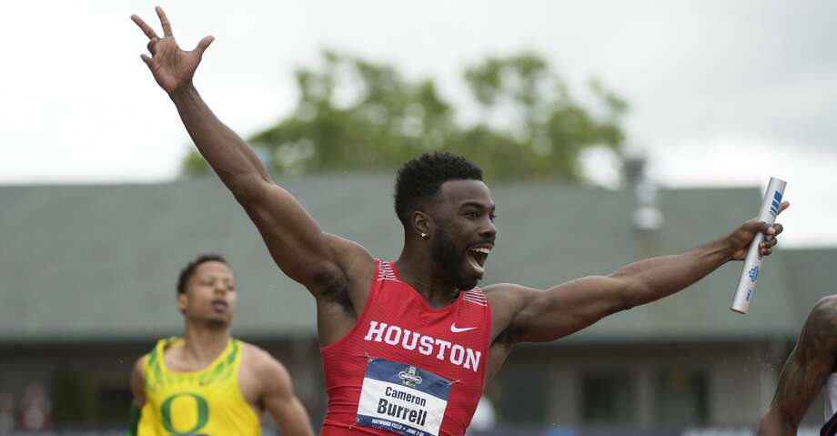 EUGENE, OR - JUNE 09: Cameron Burrell of the University of Houston celebrates after winning the 4x100 meter relay during the Division I Men's Outdoor Track & Field Championship held at Hayward Field on June 9, 2017 in Eugene, Oregon. (Photo by Jamie Schwaberow/NCAA Photos via Getty Images) Photo: Jamie Schwaberow/NCAA Photos Via Getty Images