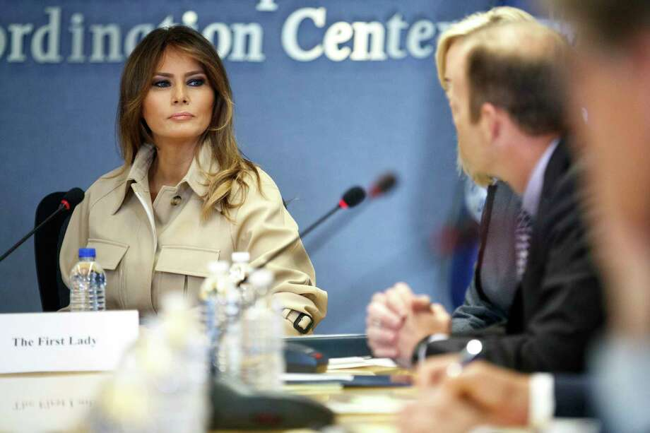 Melania Trump, the first lady, listens during a briefing at the Federal Emergency Management Agency in Washington, June 6, 2016. President Donald Trump revealed new details about the closely guarded medical condition of the first lady, saying that she underwent a four-hour operation and that her recovery would keep her from traveling abroad with him. (Tom Brenner/The New York Times) Photo: TOM BRENNER / NYTNS