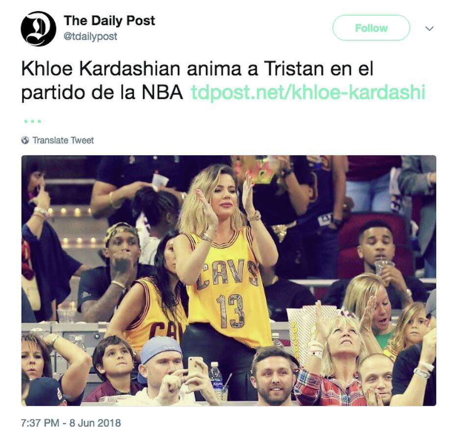 Khloe Kardashian attends Game 4 of the NBA Final in Cleveland on Friday, June 8, 2018. Photo: Twitter Screen Grab