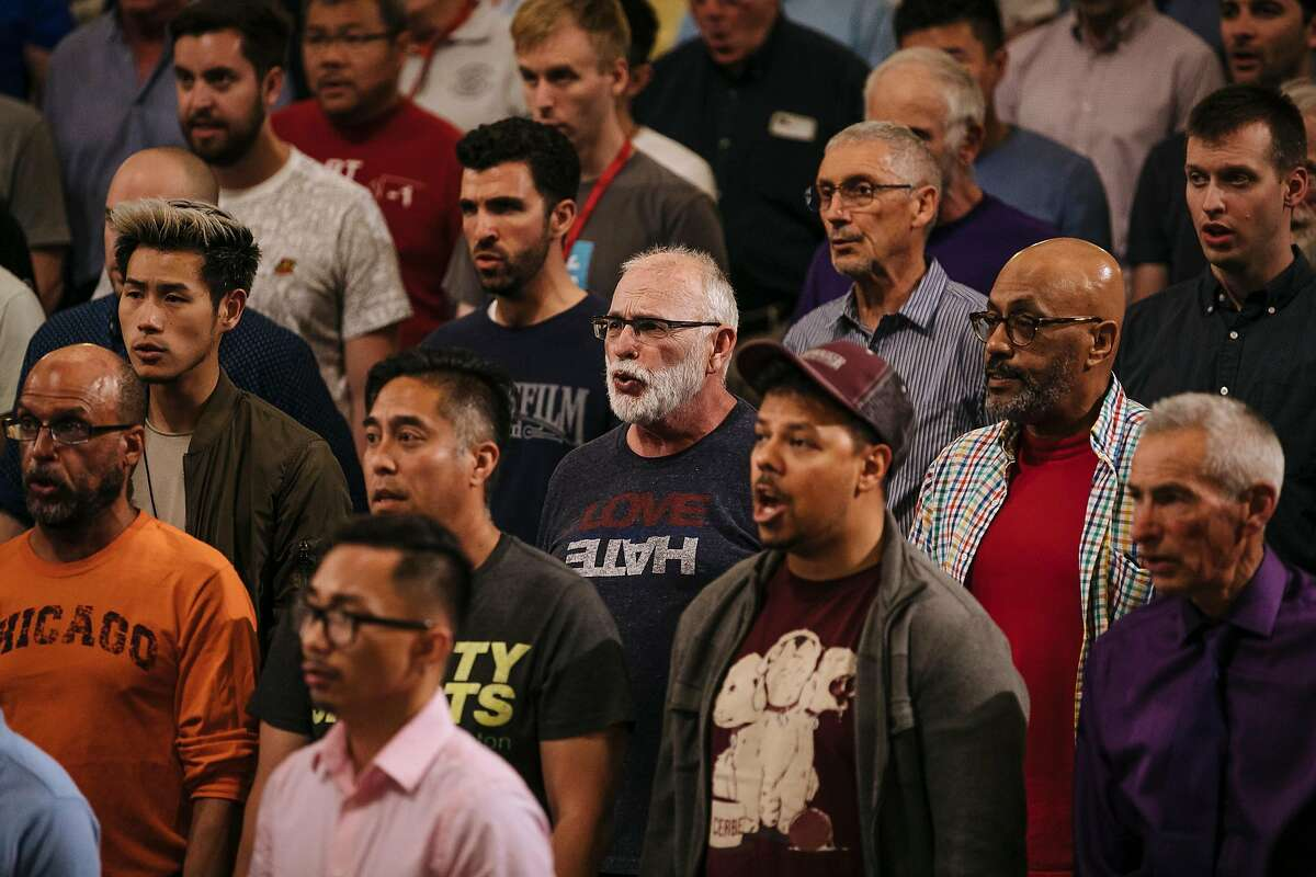 Members of the San Francisco Gay Men's Chorus practice during a rehearsal at the Academy of Art University in San Francisco, Calif., Monday, June 4, 2018.
