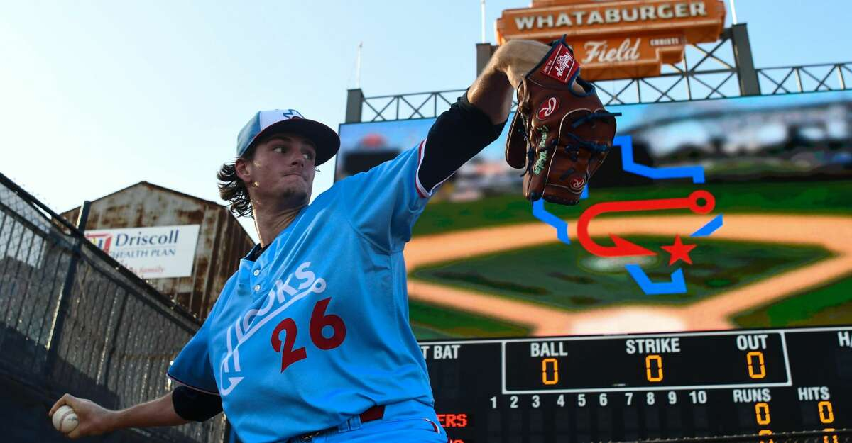 Corpus Christi Hooks pitcher Forrest Whitley warms up before the game against the Frisco RoughRiders on Friday June 1, 2018 at Whataburger Field. Forrest Whitley makes his season debut with Class AA Corpus Christi Hooks on Friday, June 8, 2018.