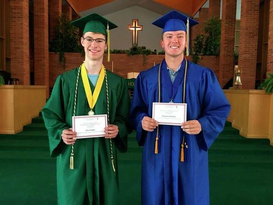 John Hopper, left, received theDorothy (Dee Dee) Dickert Scholarship Awardand Benjamin Woehrle receives theFirst United Methodist Church Scholarship Award. (Photo provided)