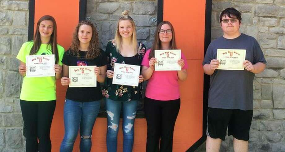 Ubly Community Schools recently named the following students Students of the Month (from left): Sam Warczinski, Nora Franzel, Kali Dutcher, Amber Essenmacher and Markus Howard. (Submitted Photo)