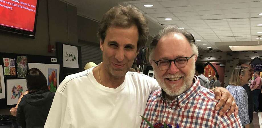 """Sports radio personality Chris """"Mad Dog"""" Russo and SKY Mercede of Forever Sweet Bakery at New Canaan High School's performance of """"Sister Act"""" last weekend. Photo: Contributed Photo"""