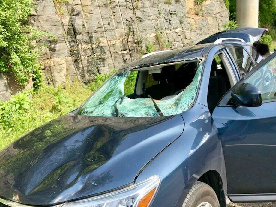 A woman who hit a deer in Trumbull, Conn., on June 8, 2018, suffered minor injuries. Photo: Contributed Photo / Connecticut State Police