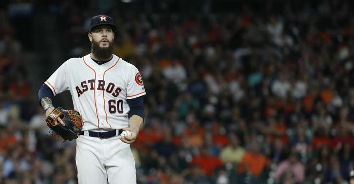 Houston Astros starting pitcher Dallas Keuchel (60) during the seventh inning of an MLB game at Minute Maid Park, Tuesday, June 5, 2018, in La Porte. ( Karen Warren  / Houston Chronicle )