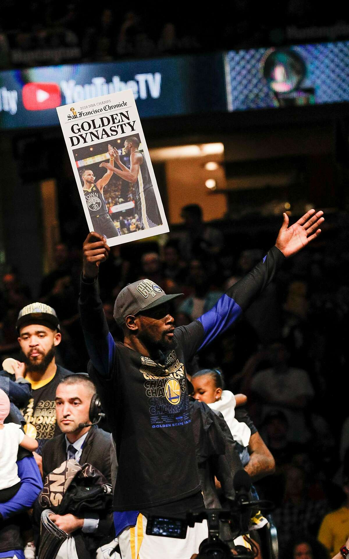 Golden State Warriors' Kevin Durant celebrates after game 4 of The NBA Finals between the Golden State Warriors and the Cleveland Cavaliers at Oracle Arena on Friday, June 8, 2018 in Cleveland, Ohio. The Golden State Warriors defeated the Cleveland Cavaliers 108 to 85 to win the NBA Finals.