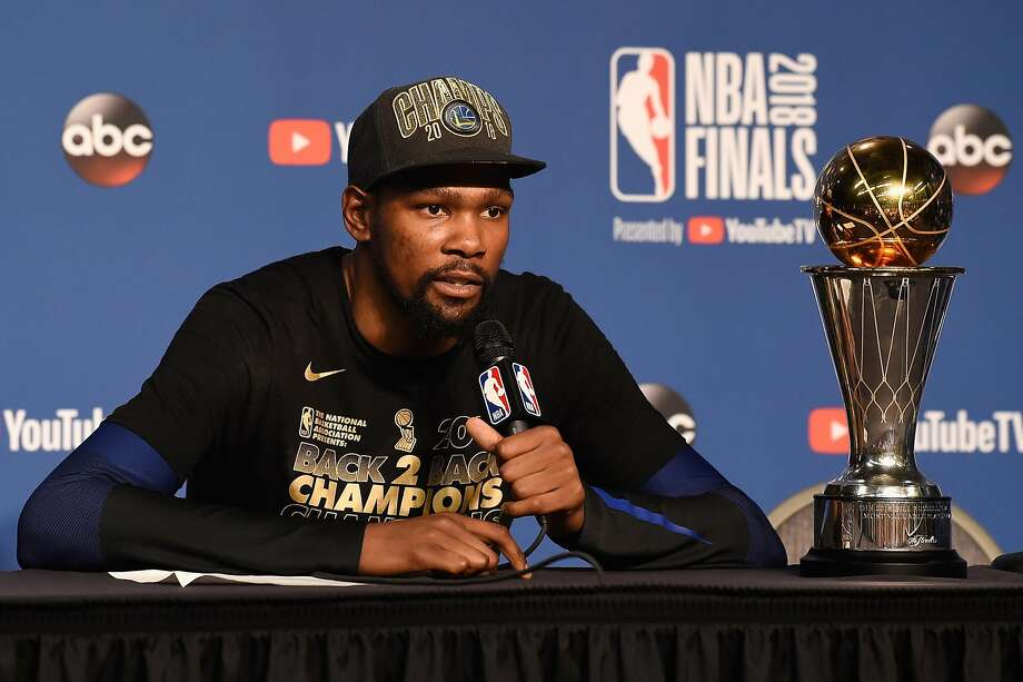 Finals MVP Kevin Durant #35 of the Golden State Warriors speaks to the media after defeating the Cleveland Cavaliers during Game Four of the 2018 NBA Finals at Quicken Loans Arena on June 8, 2018 in Cleveland, Ohio. Photo: Jason Miller, Getty Images