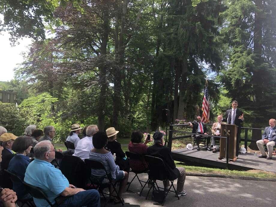 Head of School Peter Becker speaks during the groundbreaking of The Gunnery's new Thomas S. Perakos Arts and Community Center. June 9, 2018. Photo: /