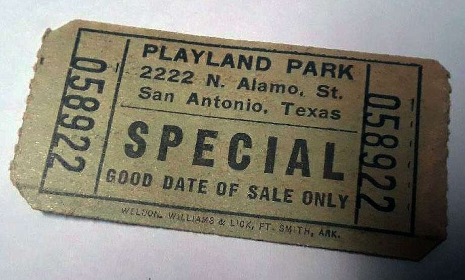 "This ticket to Playland Park was a ""special,"" admitting visitors who were part of a group that had bought a block of tickets, or in some cases, rented the entire park for a day. The park opened in 1940 near the San Antonio Zoo, later moving to a location at Alamo and Broadway, where it closed in 1980. Photo: Courtesy / Joe Stoeltje"