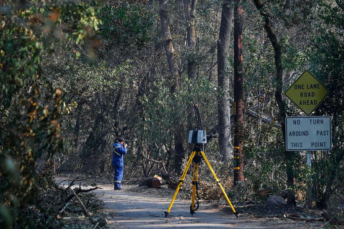 An investigators searches for the cause of the Nuns fire along Nuns Canyon rd. in Glen Ellen, Ca. as seen on Wednesday October 18, 2017.