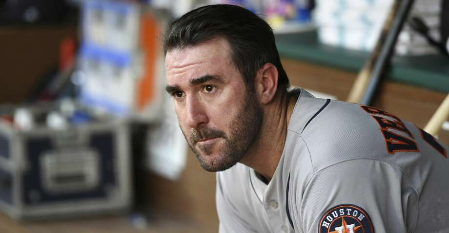 Houston Astros starting pitcher Justin Verlander watches from the dugout before pitching against the Texas Rangers during the first inning of a baseball game Friday, June 8, 2018, in Arlington, Texas. (AP Photo/Jeffrey McWhorter) Photo: Jeffrey McWhorter/Associated Press