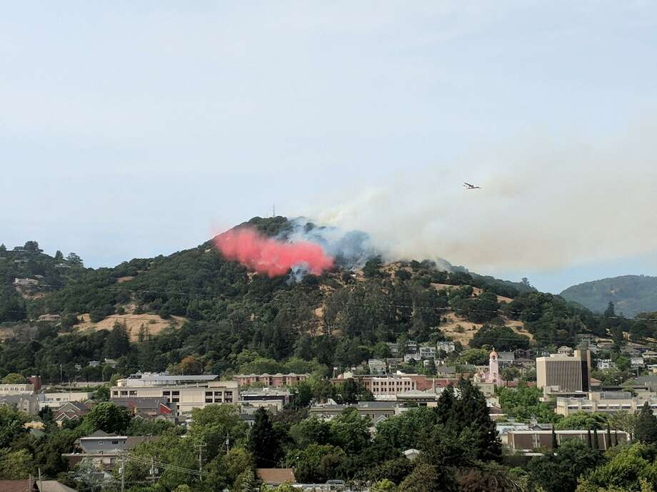 A brush fire ignited Saturday afternoon in the hills of San Rafael. Photo: Courtesy / Laura Pedersen