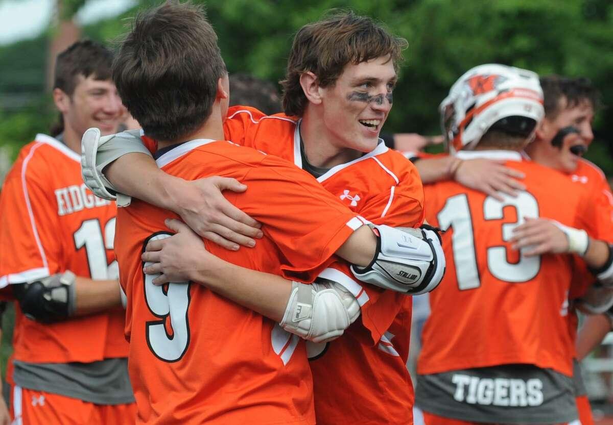 Darien High School takes on Ridgfield in their Boys Lacrosse-L State Championship Saturday, June 9, 2018, at Brien McMahon High School in Norwalk, Conn.