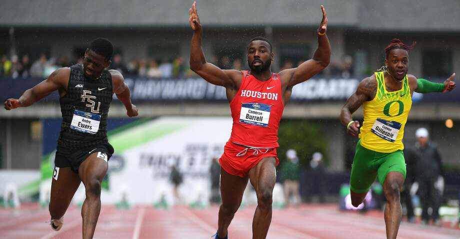 EUGENE, OR - JUNE 8: Cameron Burrell of the Houston Cougars races to victory in the 100 meter dash during the Division I Men's Outdoor Track & Field Championship held at Hayward Field on June 8, 2018 in Eugene, Oregon. (Photo by Jamie Schwaberow/NCAA Photos via Getty Images) Photo: Jamie Schwaberow/NCAA Photos Via Getty Images
