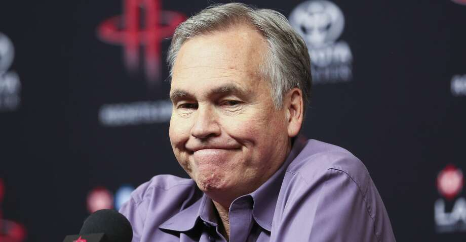 Houston Rockets head coach Mike D'Antoni reacts as he speaks at an end of the season press conference at the Toyota Center Wednesday, May 30, 2018 in Houston. (Michael Ciaglo / Houston Chronicle) Photo: Michael Ciaglo/Houston Chronicle
