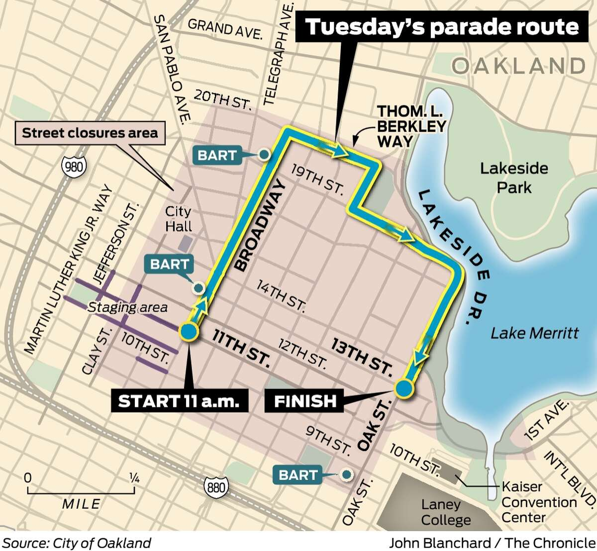 The Warriors' championship parade route for Tuesday.
