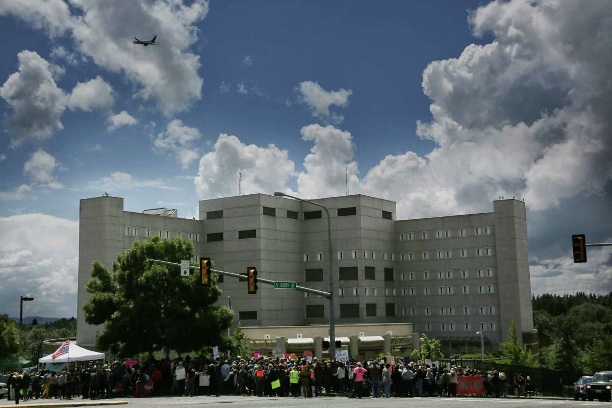 The Federal Detention Center in SeaTac where 174 women are being held, most of whom fled Central America to seek political asylum in the U.S. Washington and 16 other states are suing the Trump Administration to stop separation of families.