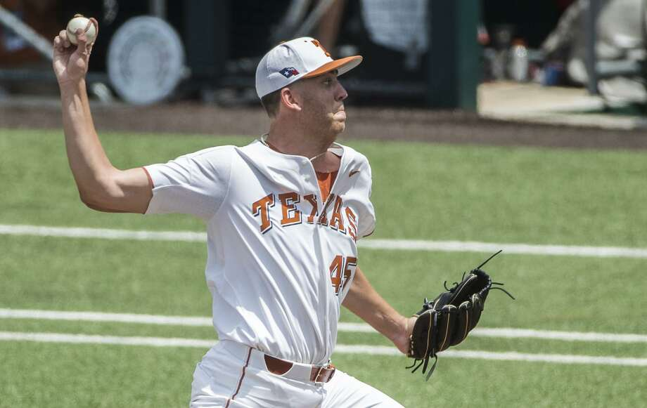 Texas pitcher Nolan Kingham (45) pitches against Tennessee Tech in the top of the 3rd inning during the 2018 NCAA Division I Baseball Super Regional at UFCU Disch-Falk Field on Saturday, June 9, 2018.  RICARDO B. BRAZZIELL / AMERICAN-STATESMAN Photo: RICARDO B. BRAZZIELL / AMERICAN-STATESMAN, Photojournalist / Ricardo B. Brazziell / AUSTIN AMERICAN-STATESMAN