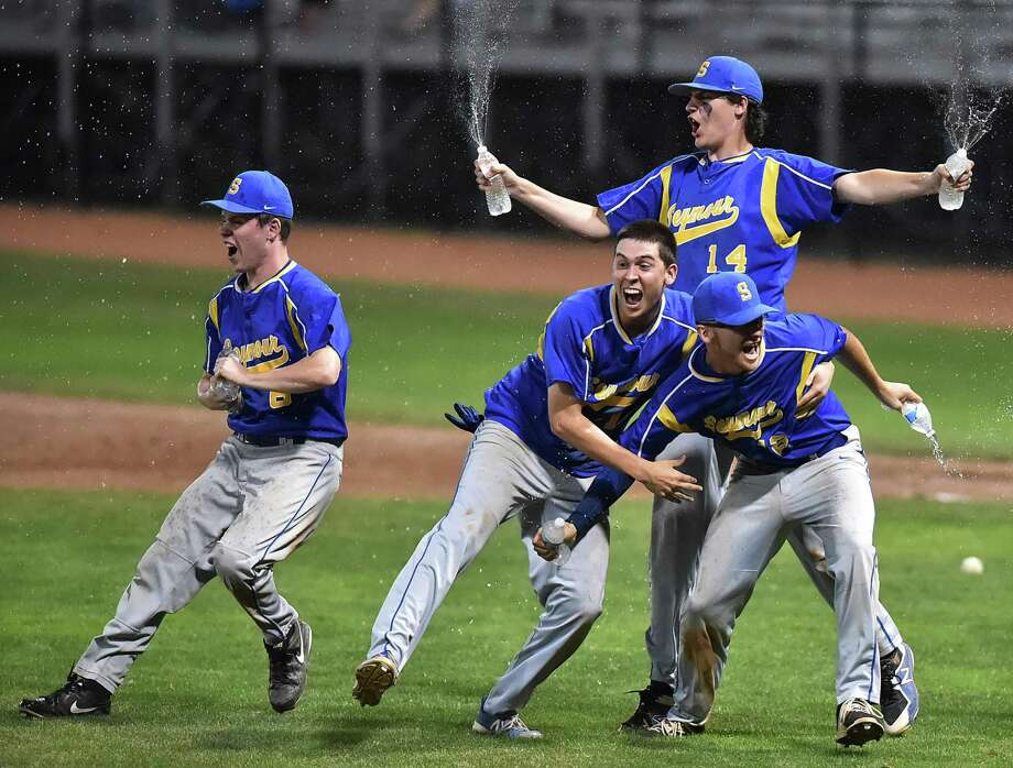 Seymour celebrates their 13-2 win over Wolcott for the Class M championship title, Saturday, June 9, 2018, at Palmer Field in Middletown. Photo: Catherine Avalone / Hearst Connecticut Media / New Haven Register