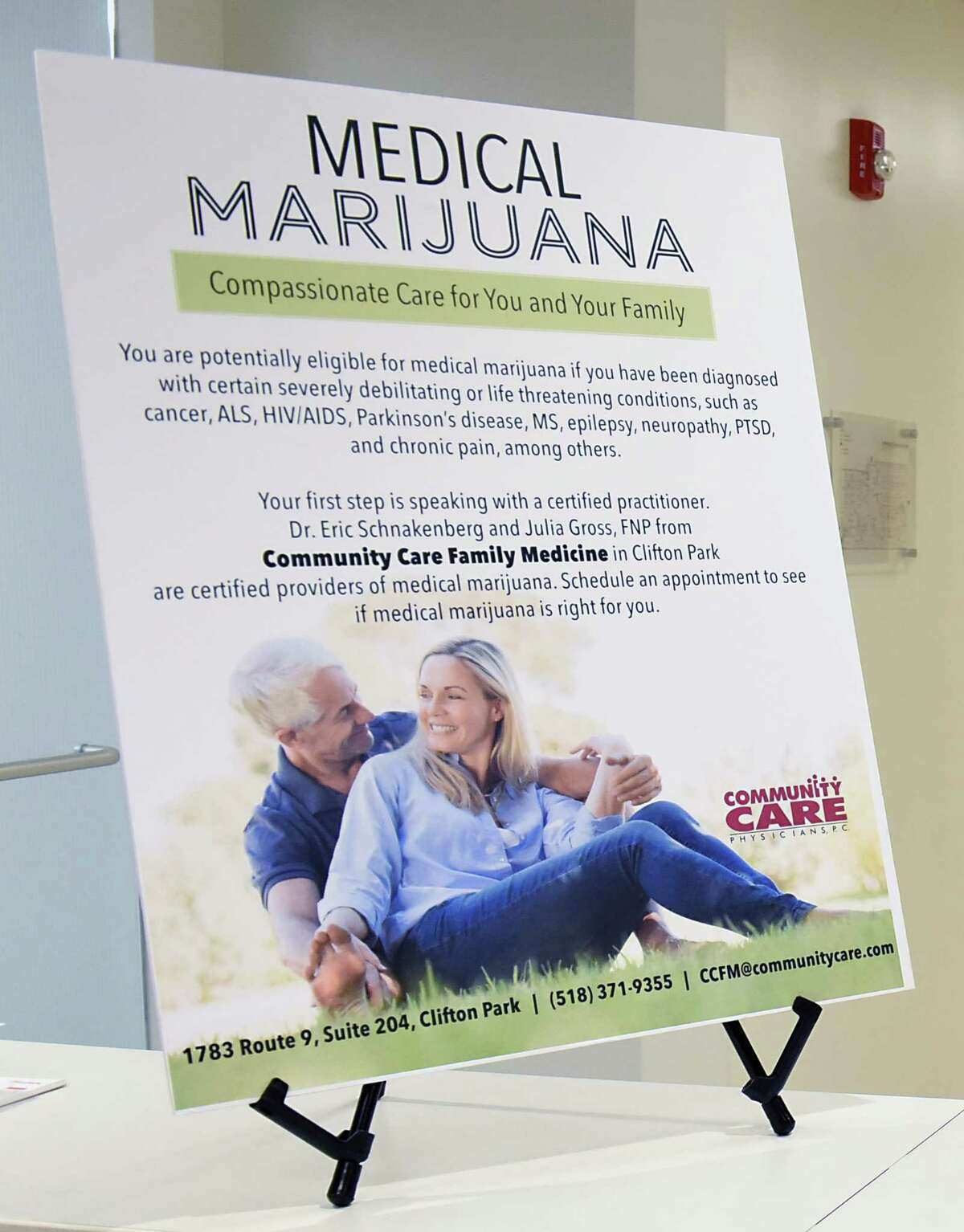 A sign is seen at the office of Dr. Eric Schnakenberg, a physician at Community Care Family Medicine in Clifton Park, and his colleague, Julia Gross, a nurse practitioner on Thursday, June 8, 2018 in Clifton Park, N.Y. They are among a small but growing number of practitioners in New York who have found success weaning patients off of opioids and onto medical marijuana for their chronic pain. (Lori Van Buren/Times Union)