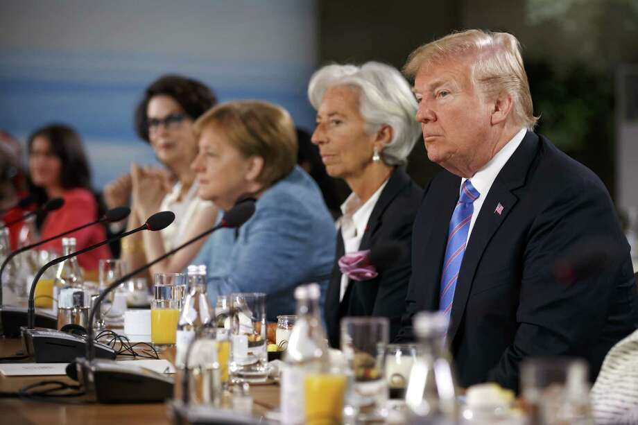 President Donald Trump listens during a Group of Seven meeting Saturday in Quebec. Photo: Bloomberg Photo By Cole Burston / © 2018 Bloomberg Finance LP
