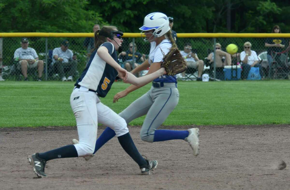 Averill Park's Marissa Nagel reaches to catch the ball a moment too late to tag out Maine-Endwell's Natalie Wunder during the Class A semifinal in Moreau, N.Y., on Saturday, Jun. 9, 2018. (Jenn March, Special to the Times Union)