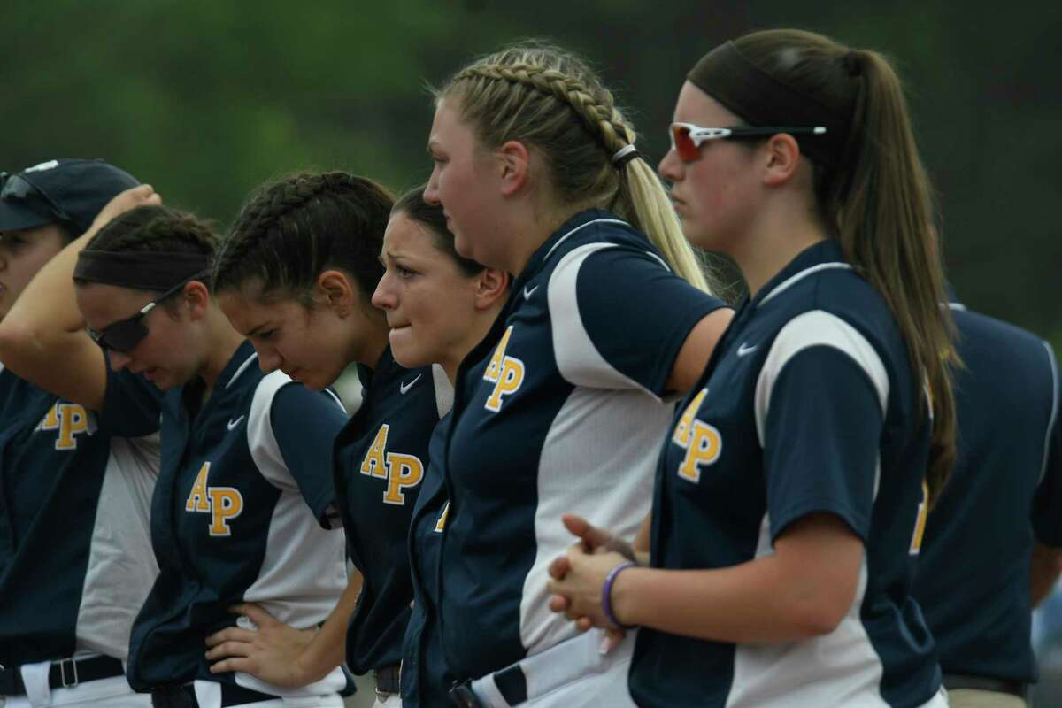 Averill Park softball players wait for their names to be called for the NYSPHSAA Class A finalists medals following their loss to Maine-Endwell in the Class A semifinal in Moreau, N.Y., on Saturday, Jun. 9, 2018. (Jenn March, Special to the Times Union)