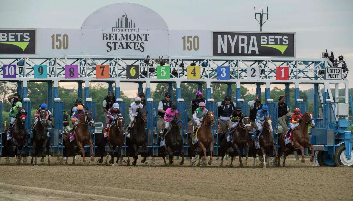 Justify with jockey Mike Smith breaks from the gate and eventually wins the 150th running of the Belmont Stakes and the coveted Triple Crown of Thoroughbred race at Belmont Park Saturday June 9, 2018, in Elmont, N.Y. (Skip Dickstein/Times Union)