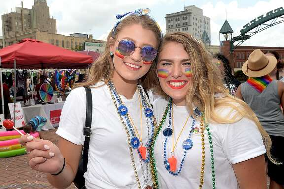Abi Woodson and Darian Whitstine were at Pride Fest 2018. The annual event, hosted by PFLAG Beaumont, kicked off with an Equality March to the Crockett Street Entertainment Complex. Food trucks, vendors, information booths, performance artists, music and drag shows indoors and out rounded out the activities to celebrate equality, diversity and LGBT pride.  Photo taken Saturday, June 9, 2018  Kim Brent/The Enterprise