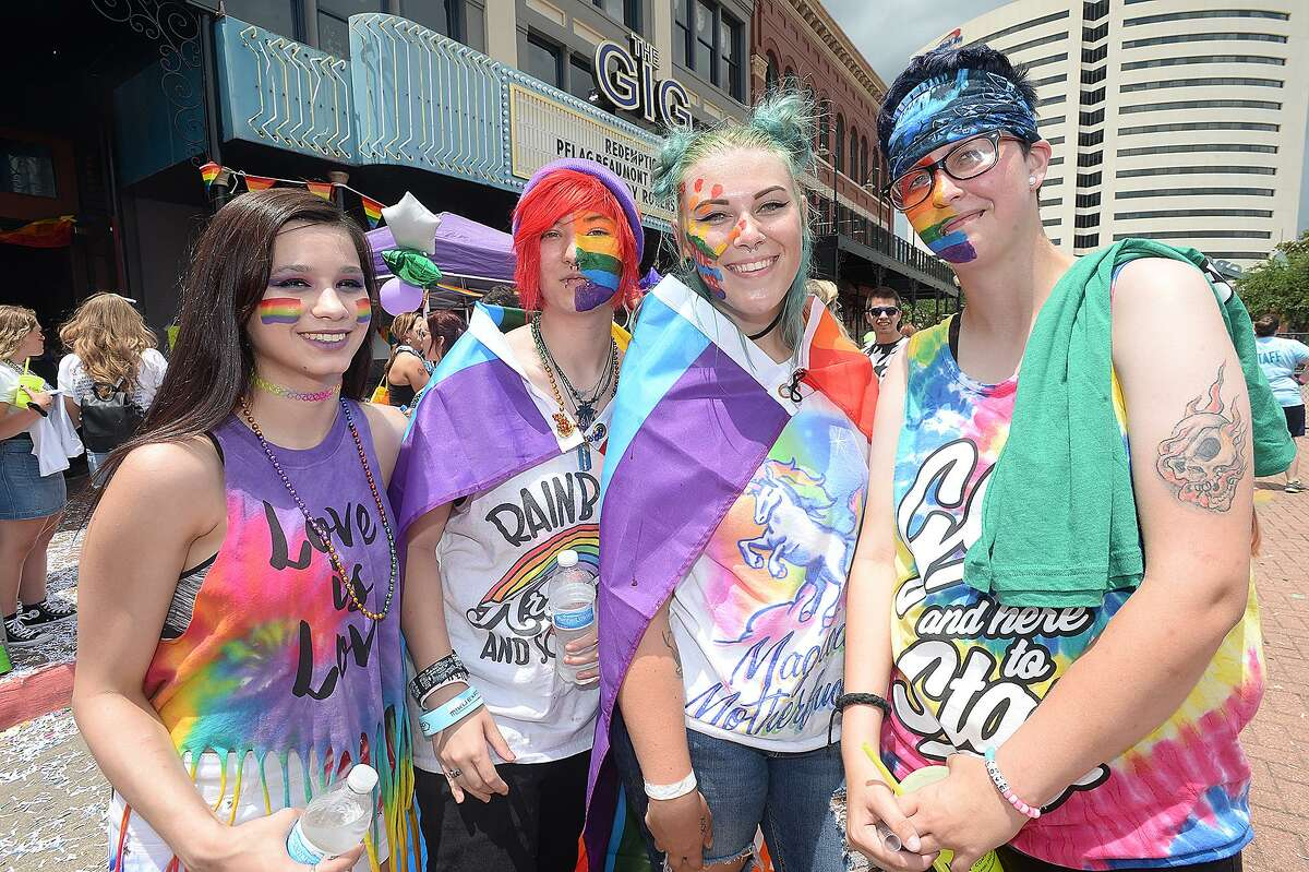 Destiny Simpson, Jay Cooper, Sarah Cullum and Justin Taylor were at Pride Fest 2018. The annual event, hosted by PFLAG Beaumont, kicked off with an Equality March to the Crockett Street Entertainment Complex. Food trucks, vendors, information booths, performance artists, music and drag shows indoors and out rounded out the activities to celebrate equality, diversity and LGBT pride. Photo taken Saturday, June 9, 2018 Kim Brent/The Enterprise