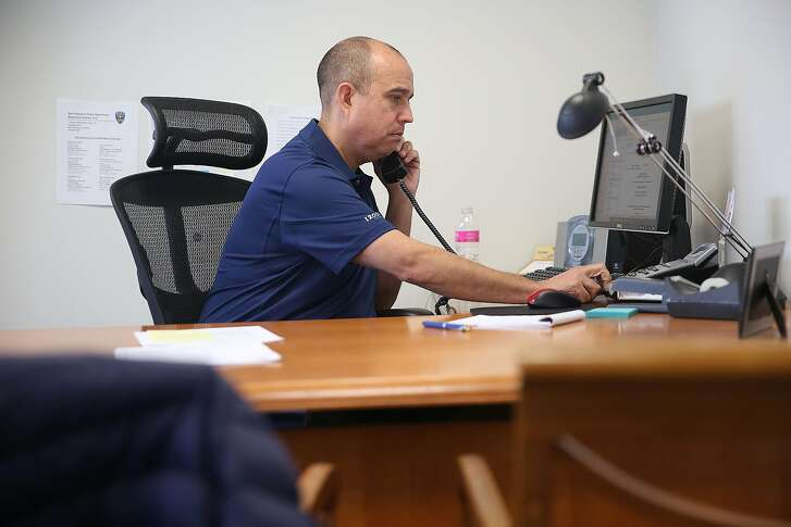 Tony Montoya, the new president of the San Francisco Police Officers Association, works in his office on Thursday, May 31, 2018 in San Francisco, Calif.