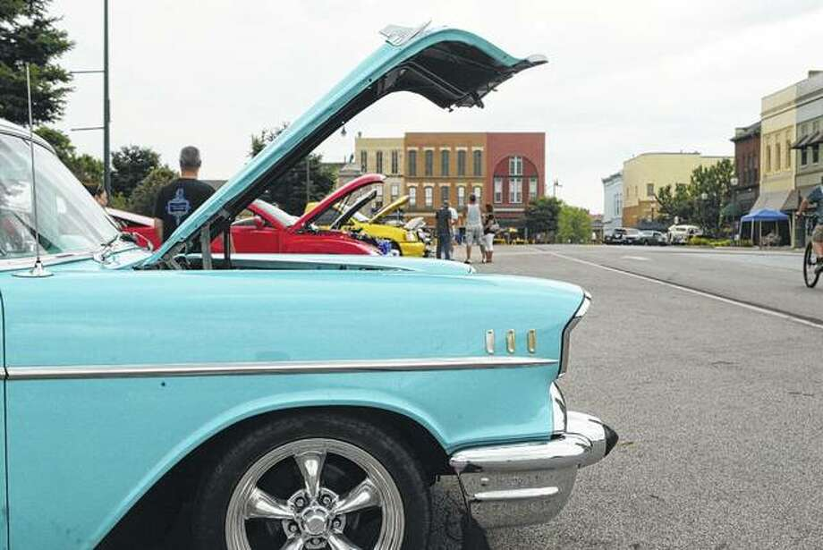 More than 80 vehicles were on display Saturday at the 22nd annual Jacksonville Downtown Plaza Car Show. Photo:       Greg Olson | Journal-Courier
