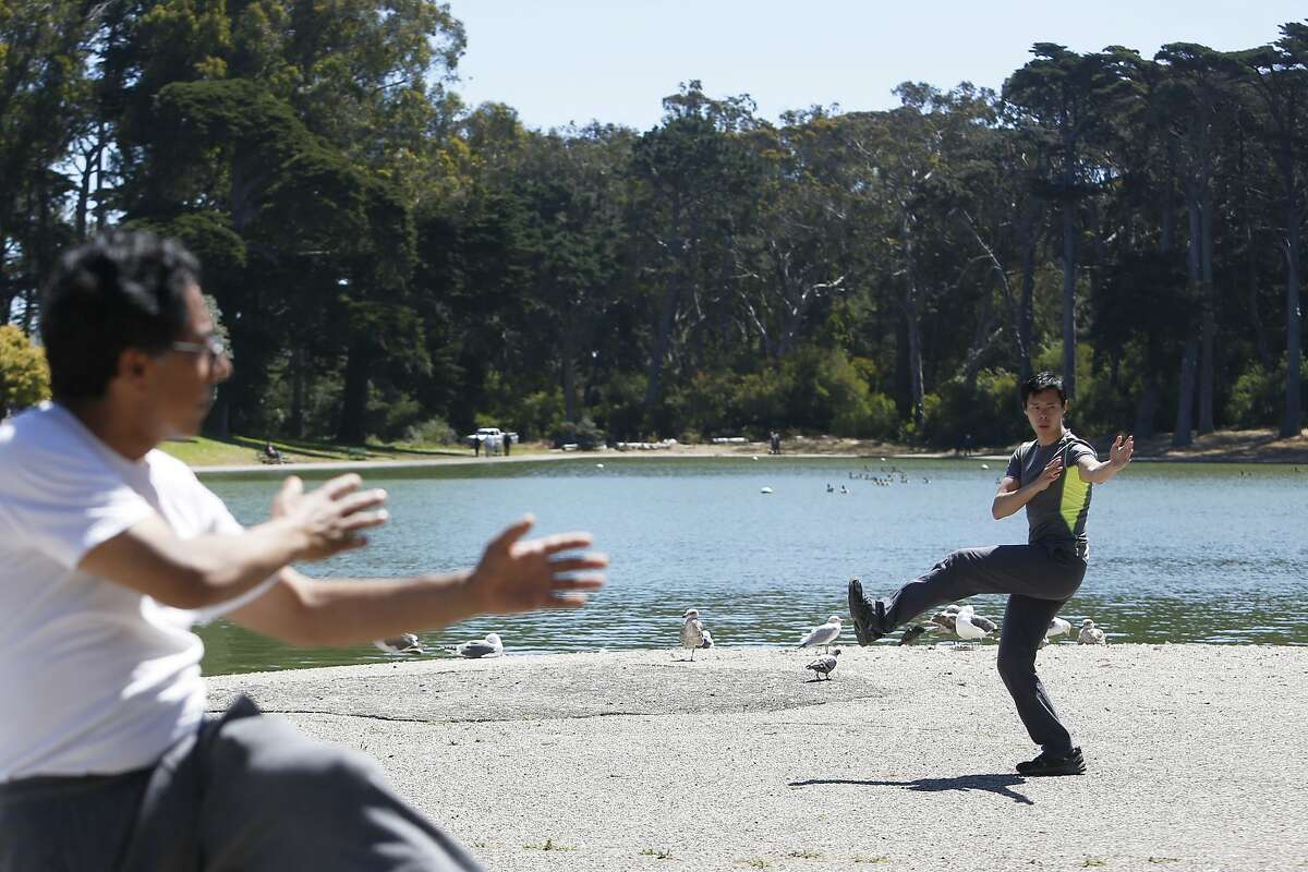 Santiago Guevara, left, and Steve Chu, center, practice Tai Chi in Golden Gate Park on a warm Sunday, June 10, 2018 in San Francisco, Calif.